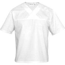 Bluza w serek biała krótki rękaw M unisex