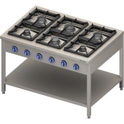 Kuchnia gazowa wolnostojąca 900 - 6 palnikowa z półką 36,5 - G30 (propan-butan)
