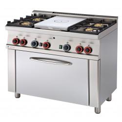 TPF4 - 610 G Kuchnia gazowa zpłytą żeliwną i piekarnikiem TPF4 - 610 G, RM GASTRO, 00000674