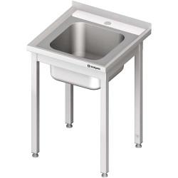 Stół ze zlewem 1-kom.,bez półki 600x600x850 mm skręcany