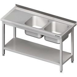 Stół ze zlewem 2-kom.(P),z półką 1400x600x850 mm skręcany
