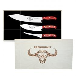 PREMIUMCUT zestaw 3 japońskich noży 30c. 20cm. 17cm rączka wiśni