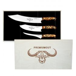 PREMIUMCUT zestaw 3 japońskich noży 30c. 20cm. 17cm rączka mozai