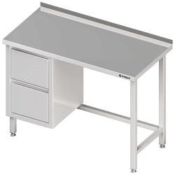 Stół przyścienny z blokiem dwóch szuflad (L),bez półki 1400x600x850 mm