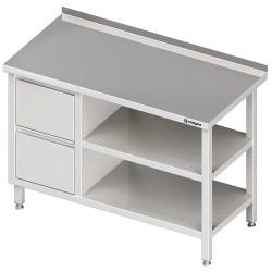 Stół przyścienny z blokiem dwóch szuflad (L),i 2-ma półkami 1300x600x850 mm