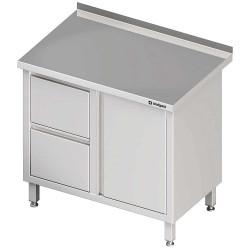 Stół przyścienny z blokiem dwóch szuflad (L),drzwi skrzydłowe 1000x600x850 mm