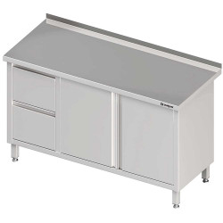 Stół przyścienny z blokiem dwóch szuflad (L),drzwi skrzydłowe 1200x600x850 mm