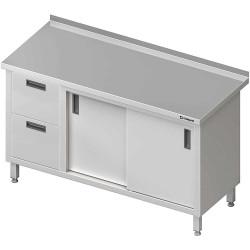 Stół przyścienny z blokiem dwóch szuflad (L),drzwi suwane 1400x700x850 mm