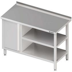 Stół przyścienny z szafką (L),i 2-ma półkami 1300x600x850 mm
