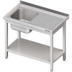 Stół ze zlewem 1-kom.(L),z półką 1100x600x850 mm skręcany