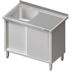 Stół ze zlewem 1-kom.(L),drzwi suwane 1300x600x850 mm