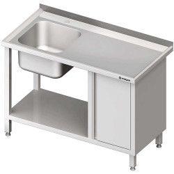 Stół ze zlew 1-kom.(L), z szafką i półką 1200x700x850 mm