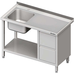 Stół ze zlewem 1-kom.(L), z blokiem dwóch szuflad i półką 1100x600x850 mm