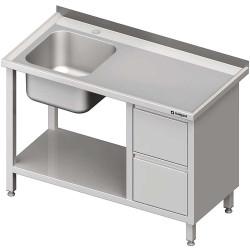 Stół ze zlewem 1-kom.(L), z blokiem dwóch szuflad i półką 1300x600x850 mm