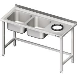 Stół przyścienny ze zlewem bez półki z otworem 1900x700x850 mm, 2-komory po lewej spawany