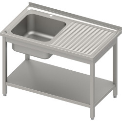 Stół ze zlewem 1-kom.(L),z półką 1200x600x850 mm skręcany, blat tłoczony