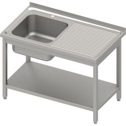 Stół ze zlewem 1-kom.(L),z półką 1200x600x850 mm spawany, blat tłoczony