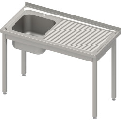 Stół ze zlewem 1-kom.(L),bez półki 1000x600x850 mm spawany, blat tłoczony