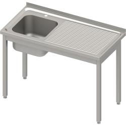 Stół ze zlewem 1-kom.(L),bez półki 1200x600x850 mm skręcany, blat tłoczony
