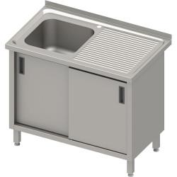 Stół ze zlewem 1-kom.(L),drzwi suwane 1000x700x850 mm, blat tłoczony