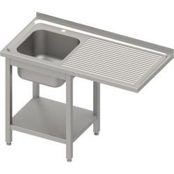 Stół ze zlewem 1-kom.(L) i miejscem na lodówkę lub zmywarkę 1600x700x900 mm spawany, blat tłoczony