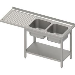 Stół ze zlewem 2-kom.(P) i miejscem na lodówkę lub zmywarkę 1600x700x900 mm, blat tłoczony