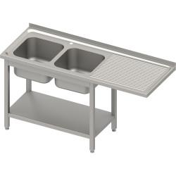 Stół ze zlewem 2-kom.(L) i miejscem na lodówkę lub zmywarkę 1600x600x900 mm, blat tłoczony