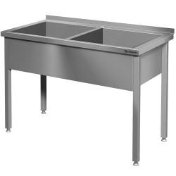 Stół z basenem 2-komorowym spawany 1200x600x850 mm h 300 mm