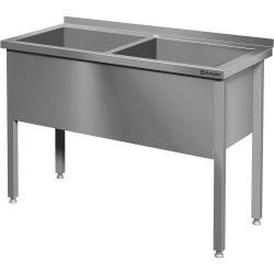 Stół z basenem 2-komorowym spawany 1200x600x850 mm h 400 mm